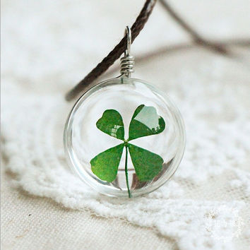 Four Leaf Clover in a Glass Necklace