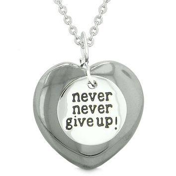 Amulet Never Give Up Inspirational Puffy Magic Lucky Heart Charm Hematite Pendant 18 inch Necklace