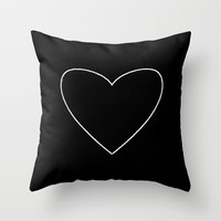 Black Heart Throw Pillow by M Studio