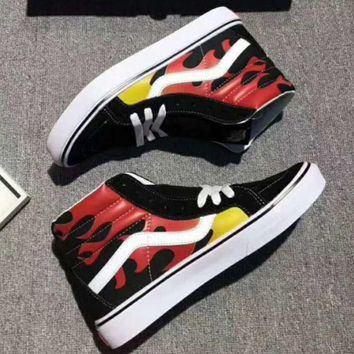 PEAPUF3 Vans Flame Print Ankle Boots Old Skool Canvas Flat Sneakers Sport Shoes G-A36H-MY