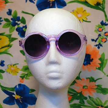NEW - Purple Circle Sunglasses Retro Hippie Round Glasses - Mallory