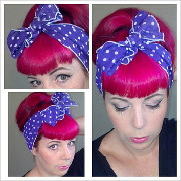 Purple and White Polka Dot Vintage Style Chiffon Hair Scarf Headwrap Scarves Hair Bow 1950s Rockabilly - Pin Up - For Women, Teens Scarves