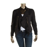 INC Womens Faux Suede Open Front Casual Blazer