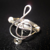 Treble Clef Ring Silver Plated Wire Wrapped by aLilJazzJewelry