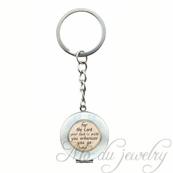 2017 Newest God is With You Keychain Glass Pendant Joshua 1:9 Quote Key Chains Words Vintage Letter Key Ring For Women and Men