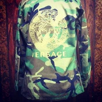 88fc68590f544 Versace Gold Camo Jacket from BLACKPYRAMIDLUXURY on Etsy | Things