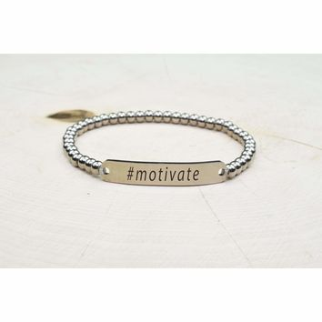 Solid Stainless Steel Beaded Hashtag Bracelet - Motivate