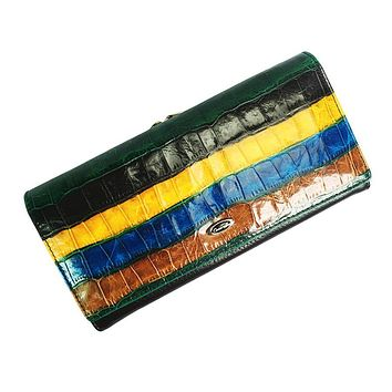 Genuine Leather High Quality Women Wallet New Cowhide Stitching Hit Color Stripe Large Capacity Purse Clutch Bag Long wallets
