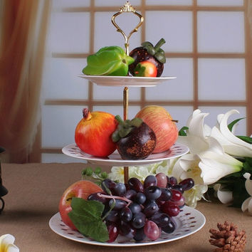 2 or 3 Tier Hardware Crown Cake Plate Stand Handle Fitting Wedding Party Stand Only (Size: 30 cm, Color: Gold) = 1946276484