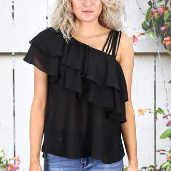 Ruffled Up Strappy One Shoulder Blouse {Black}