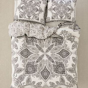 Valda Woodblock Medallion Duvet Cover   Urban Outfitters