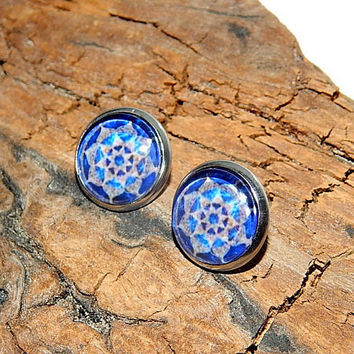 Blue Mandala earrings, yoga earrings, mandala jewelry, Lotus Mandala Earrings, Lotus Flower Mandala, Flower Sacred Geometry stud earrings