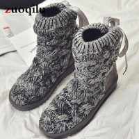 Knitted winter women boots fashion warm snow boots winter ankle boots for women shoes botas femininas de inverno