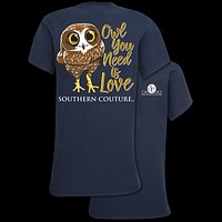 Southern Couture Classic Owl You Need is Love T-Shirt