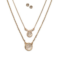 Double Circle Pavé Crystal Necklace Set