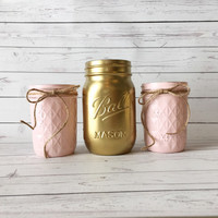 Blush Wedding Decor - Blush Baby Shower - Rustic Wedding Decorations - Painted Mason Jars - Sand Ceremony Set - Rustic Sand Ceremony Jars