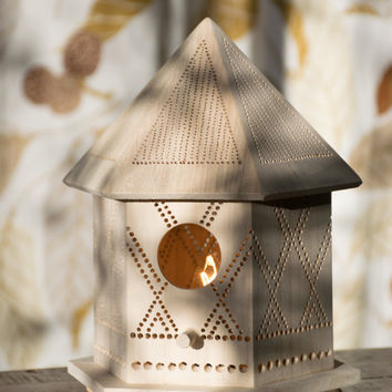 Diamonds - Birdhouse Night Light - Woodland Nursery Nightlight - Baby / Kid's Room Lamp