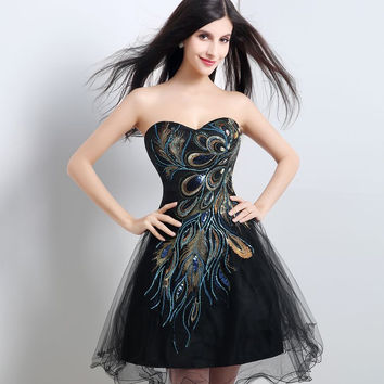 In Stock Embroidery Peacock Black Cocktail Dress Cheap Pirce Short Mini Homecoming Gowns Wedding Party Dress
