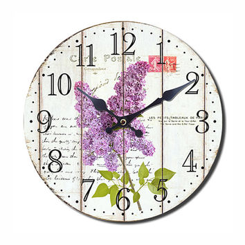 CARTE POSTALE Wall Clock Floral Style 13.50X13.50 Inches  - White Pattern - Unique Wall Clock - Floral Home Decor