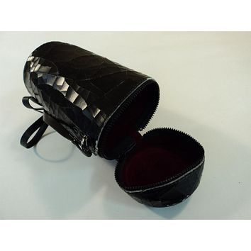 Minolta Camera Lens Case Holder With Strap Brown/Red 416-030315 Vintage Leather -- Used