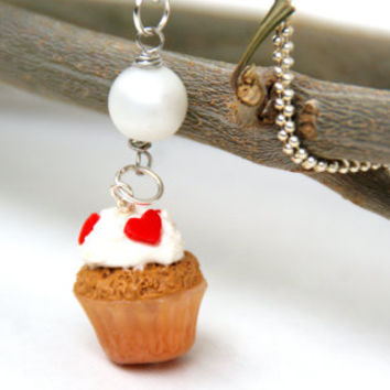 Miniature Vanilla Cupcake Necklace