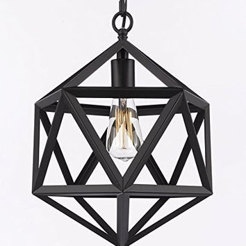 Wrought Iron Polyhedron Vintage Barn Metal Pendant Chandelier Lighting H14 W12 Swag Plug In-Chandelier W/ 14' Feet Of Hanging Chain And Wire! - G7-B16/2204/1