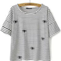 Black and White Striped Eye Embroidered T-Shirt