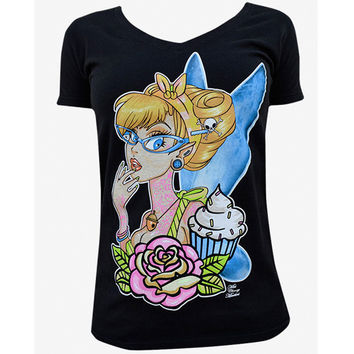 Tattooed Fairy Womens Tee by Artist Cherry Martini