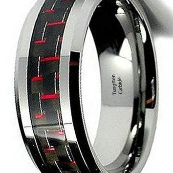 CERTIFIED 8mm Red & Black Carbon Fiber Tungsten Carbide Wedding Ring Band