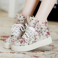 Canvas Cotton Floral Flowers Women's Flat Platform Shoes High Top Sneakers Shoes