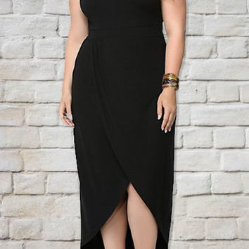Black Sleeveless Midi Dress