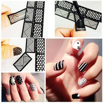 CREYHY3 1 Pcs Print Nail Art Sticker DIY Stencil Stickers For 3D Nails 24 Design Easy Stamping Template Manicure Supplies JH372