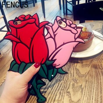 Luxury Fashion 3D Red Rose Flower phone Case for iPhone 7 6 6S Plus Girl Women Stylish Vintage Back Cover for iPhone 6 5 5S SE X