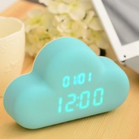 Glovion Ac/ Battery Powered Cute Cyan Cloud Shape Sound Control Digital Alarm Clock (Ac Adapter Included)