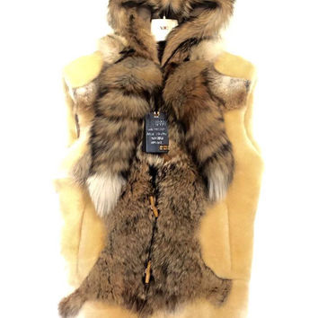 Jakewood Men's Natural Fox Tail Shearling Vest
