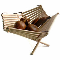 folding basket  wood and leather by FlumeStreet on Etsy