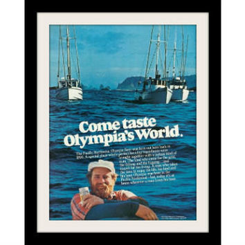 "1977 Olympia Beer Ad ""Fishng Boats"" Vintage Advertisement Print"