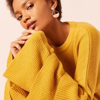 Tiered-Sleeve Sweater-Knit Top