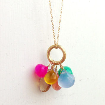 Gemstone Necklace - Cluster - Gold Jewelry - Fine Jewelry
