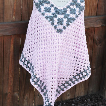 Shawl / Poncho -  Crochet Granny Square Woman- Pink and Grey
