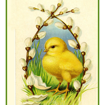 Vintage Easter Baby Chick Willows Counted Cross Stitch or Counted Needlepoint Pattern