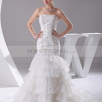 Strapless Mermaid Wedding Gown with Structured Beading