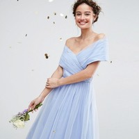 ASOS WEDDING Tulle Midi Dress at asos.com