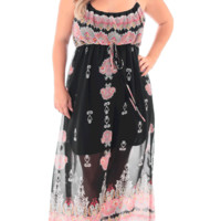 Plus Size Paisley Floral Print Bubble Maxi Black Dress, Plus Size Clothing, Club Wear, Dresses, Tops, Sexy Trendy Plus Size Women Clothes