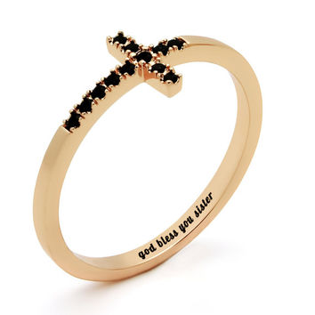 """Sister Gift - Delicate Cross Ring Engraved on Inside with """"God Bless You Sister"""", Sizes 6 to 9"""