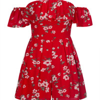 Red Floral Print Off Shoulder Ruffle Bardot Romper Playsuit