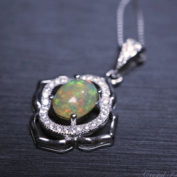 Ethiopian Fire Opal Necklace, Life of Flower Sterling Silver High quality CZ Bridal Necklace, Large Real Genuine Rainbow Opal Pendant M size