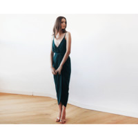 Emerald Green Wrap Maxi Dress