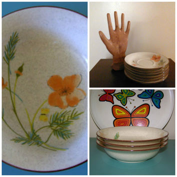 Lot of Vintage 1970's Mikasa Stylemanor Stoneware Bowls and Saucers Woodland Poppy  by Vera Neumann GROOVY