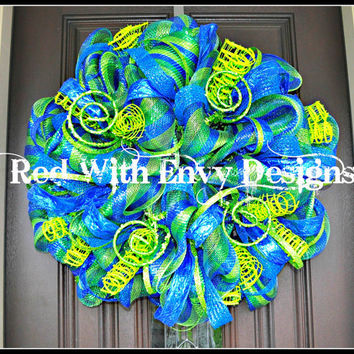 Peacock Wreath, Peacock, Peacock Decoration, Peacock Decor, Summer Wreath, Summer, Spring Wreath, Wreath, Deco Mesh Wreath